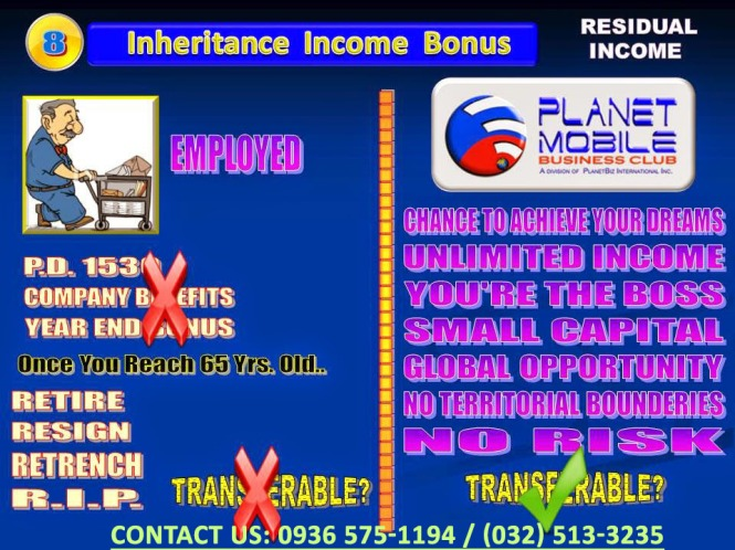 Planet Mobile Business Club - 8 Ways To Earn - Inheritance Income Bonus